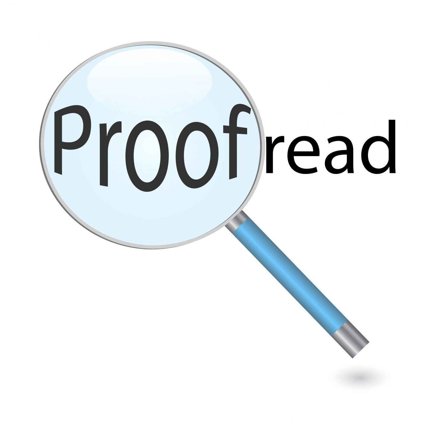 magnifying glass proofread