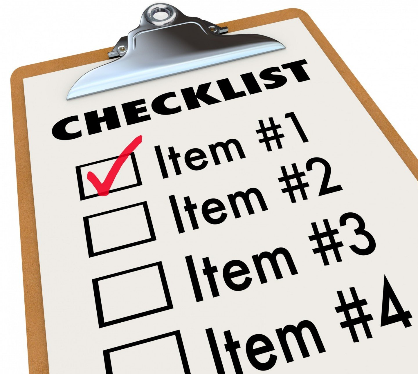 checklist of test criteria